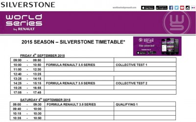 August 31. 2015. Silverstone Formula Renault 3.5 time schedule